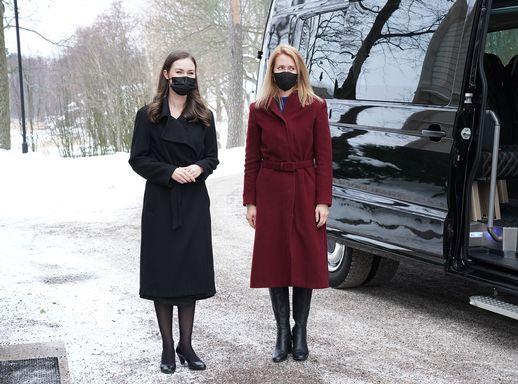Finland's Prime Minister Sanna Marin (left) met her Estonian counterpart Kaja Kallas in Helsinki